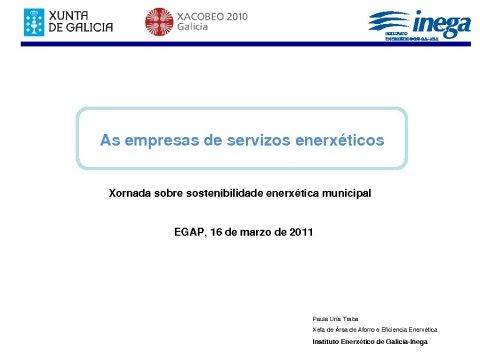 Presentación Paula Uría. Jefa de Area de Ahorro e Eficiencia Enerxética.  - Xornada sobre sostibilidade enerxética municipal